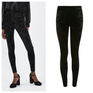 Topshop Black Velvet Leggings, size 8